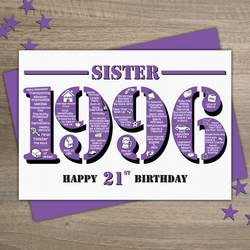 Happy 21st Birthday Sister Year of Birth Greetings Card - Born in 1996 - Facts