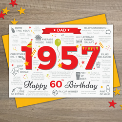 1957 DAD Happy 60th Birthday - Memories Facts Year of Birth Greetings Card RED