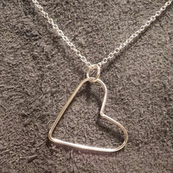 Sterling silver simple Valentines heart necklace