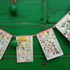 Vintage floral book bunting - pinks and yellows