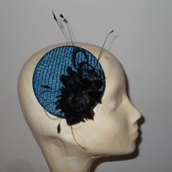 Teal Green Straw Burlesque Mini Pill Box Hat Fascinator with Black Feather Rose