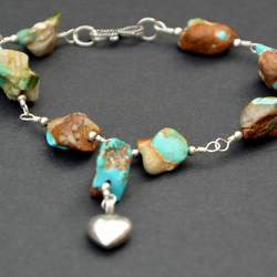 Silver and turquoise bracelet with heart charm
