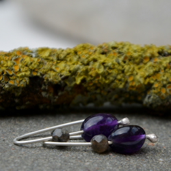 Grey and purple gemstone earrings with sterling silver.