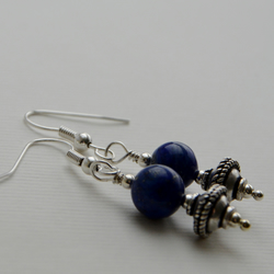 Blue gemstone earrings with silver.