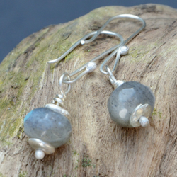 Faceted labradorite and sterling silver earrings.