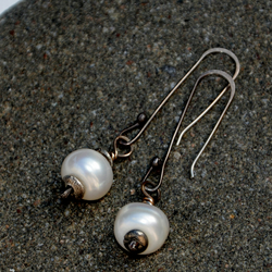 Sterling silver and creamy white pearl earrings
