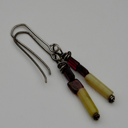 Red Garnet and soft green dangle earrings.