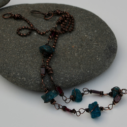 Blue raw apatite and garnet necklace.