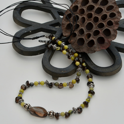 Smoky grey and soft yellow gemstone necklace.