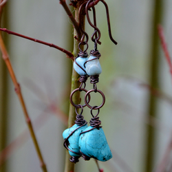 Turquoise and larimar earrings.