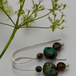Grey and sage green gemstone earrings.