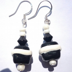 Black & white polymer clay earrings
