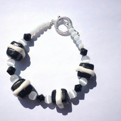 Black & white polymer clay bracelet