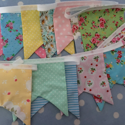 16 ft shabby chic, pastel coloured bunting, banner, wedding,party flags