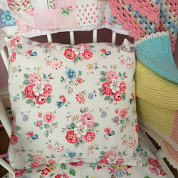 Cushion cover in Cath Kidston white forest bunch  cotton duck fabric