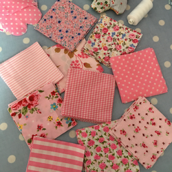 "40 x 4"" pink coloured cotton fabric patchwork squares"