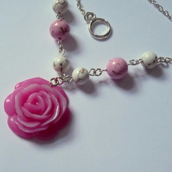 Rose Necklace with White Turquoise Howlite