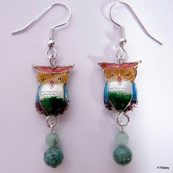 Cloisonne Owl Earrings