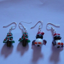 Christmas Tree and Snow Penguin Earrings