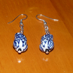 Cute Blue/White Ceramic Owl Earrings