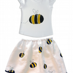 Girls Bumble Bee Skirt and T-shirt