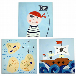 Pirate 3 Canvases -Pirate, Pirate Ship, Treasure Map Painting