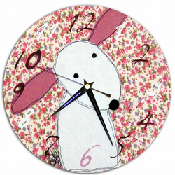 Floral Rabbit Clock