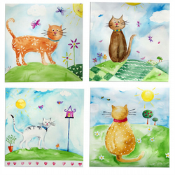 Cat  Art 4 Original Watercolour Paintings Childrens Nursery Art