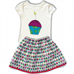 Girls Cupcake t-shirt and skirt