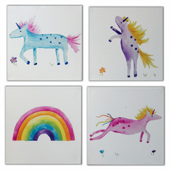 Unicorn and Rainbow 4 Canvases - Nursery Art - Paintings