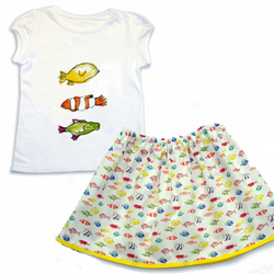 Girls fish Skirt and T-shirt