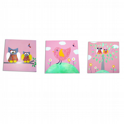 Pink Owls and Birds Childrens - Art 3 Canvases