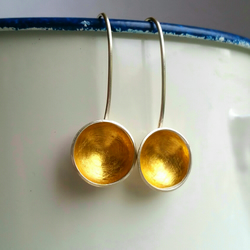 contemporary Silver and 24 ct gold cup drop earrings