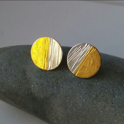 Contemporary  Handmade Textured Round Silver Stud Earrings With Gold. Large.