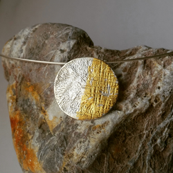 Organic textured Silver disc necklace with little 24ct gold detail