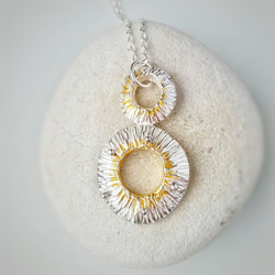 SALE A quirky silver lichen inspired pendant necklace with 24ct gold