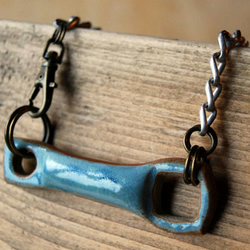 Rustic Industrial Ceramic Pendant with Blue Glaze on Silver Chain