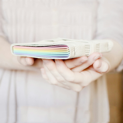 Rainbow Leather Wrap Journal - Handbound Blank Book - 6 x 4 - Pastel Pages - A6