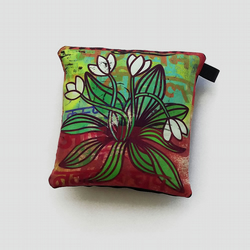 Small silk cushion, ornamental 5x5in little pillow with plant illustration, gift
