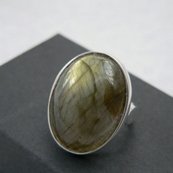 Labradorite Cabochon Sterling Silver Statement Ring 18x13mm