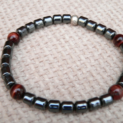 Gemstone Stretch Bracelet - Red Tiger Eye and Hemalyke