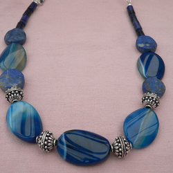 Blue Banded Agate, Lapis and Sodalite Necklace