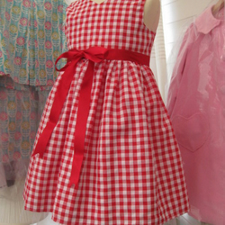 Girls lined handmade gingham dress & bag. Free postage