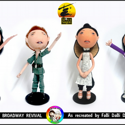 set of 4 Miss Saigon Musical FaBi DaBi Dolls - Chris, Kim, Gigi and the Engineer