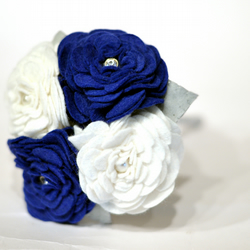 Blue and Ivory sparkling Everlasting Flower Girl Bouquet