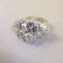 Silver Sparkle Cluster Ring