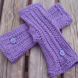 Lavender Ribbed Crocheted Fingerless Gloves in Cotton Rope