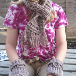 Matching Crocheted Fingerless Gloves, Scarf and Hat  in Wool/Acrylic Blend