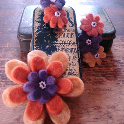 Two Felt Flower Barrettes with Matching Brooch