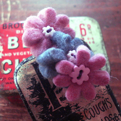 Brooch with Three Tiny Felt Flowers